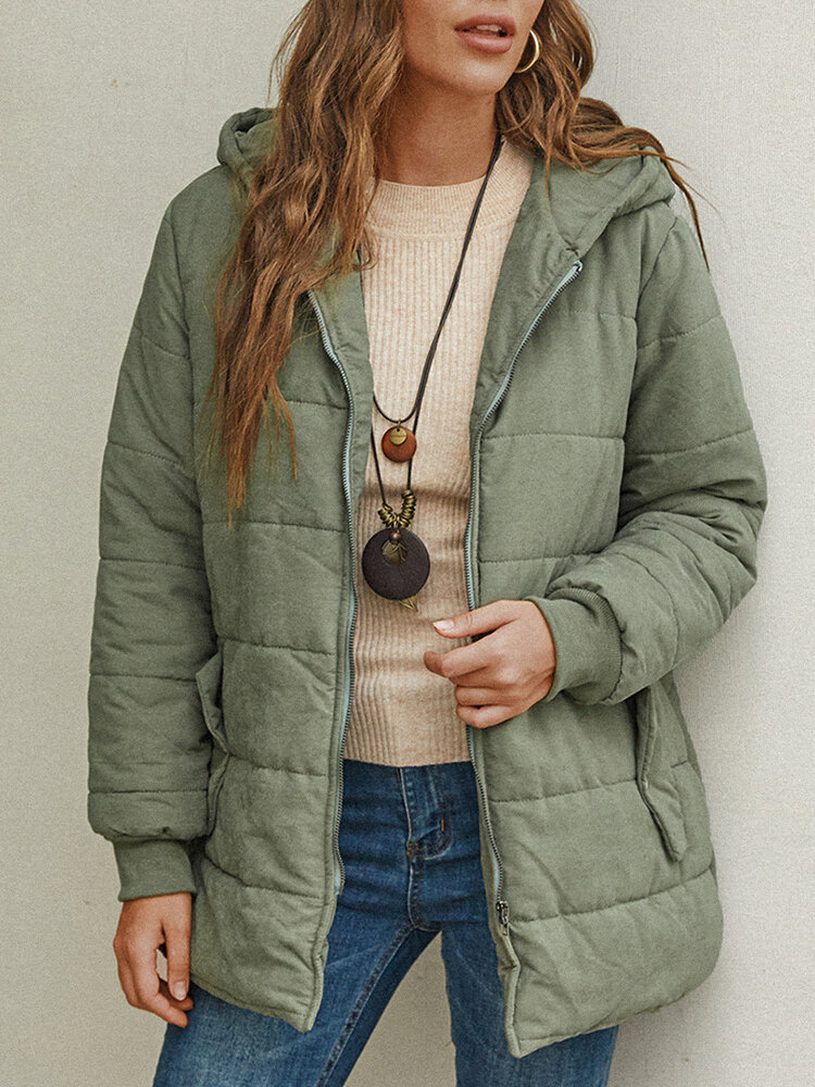Casual Hooded Zipper Thicken Plus Size Winter Coat with Pockets