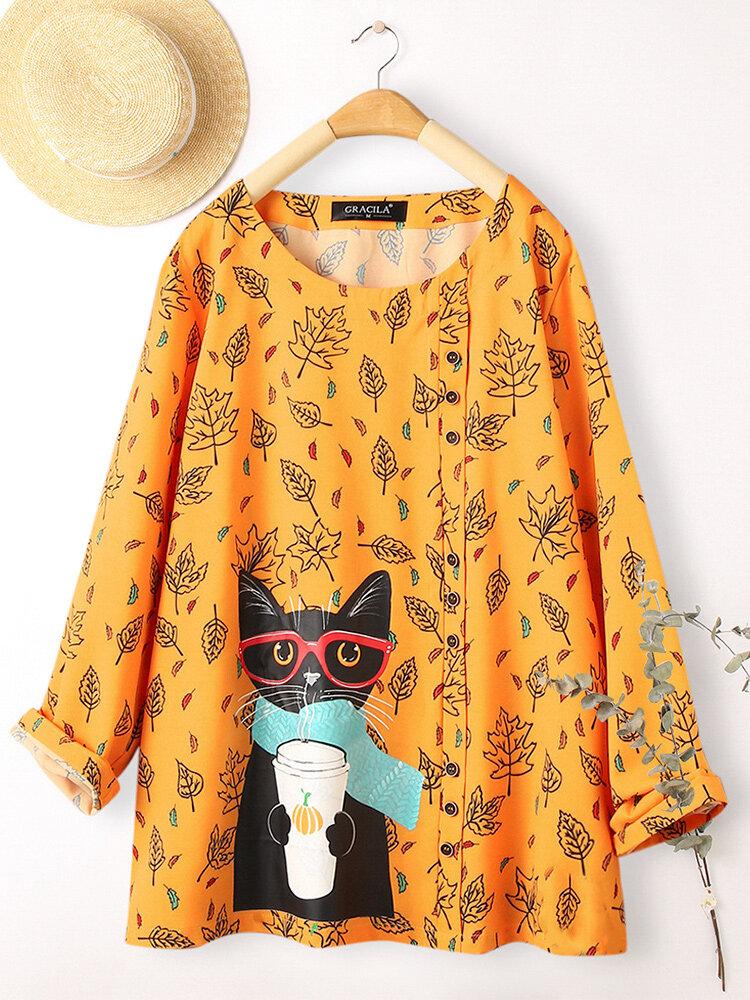 Блузка на пуговицах с длинным рукавом с принтом Cartoon Кот для Женское