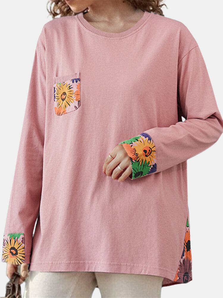 Patch Floral Print Long Sleeve Casual Loose T-Shirt For Women