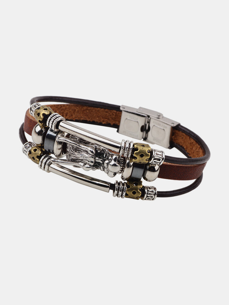 Vintage Multilayer Chain Leather Fashion Dragon Charming Pendant Bracelet Ethnic Jewelry for Men