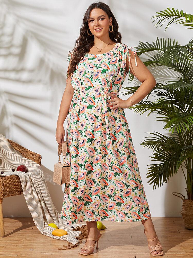 Papaya Leaves Print Drawstring Knotted Sleeve Plus Size Holiday Dress