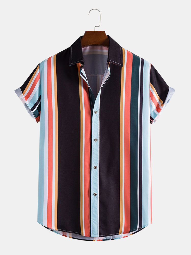 Mens Colorful Vertical Stripe Button Up Short Sleeve Shirts