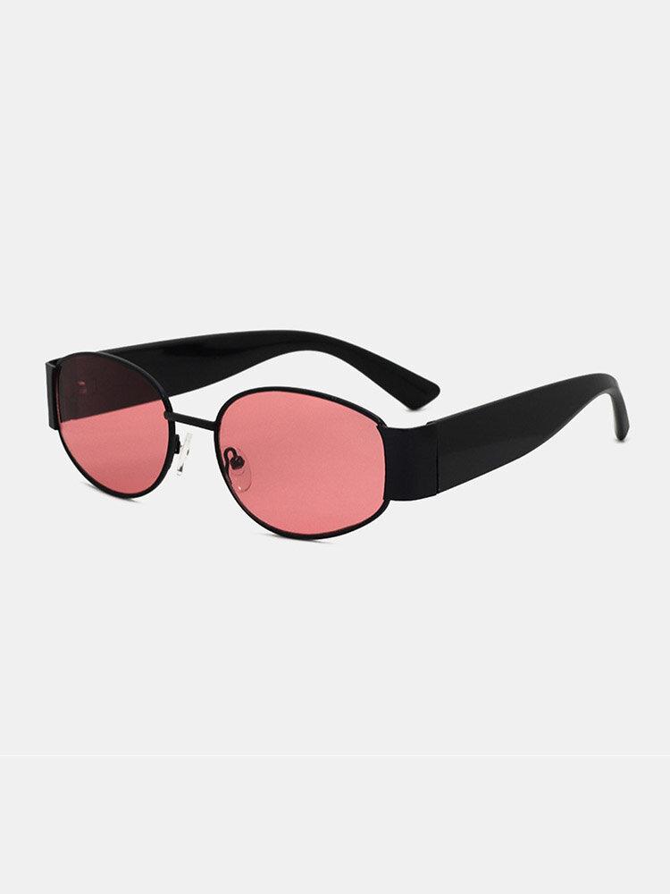 メンズ オーバル フレーム メガネ脚 UV 保護ファッション サングラス