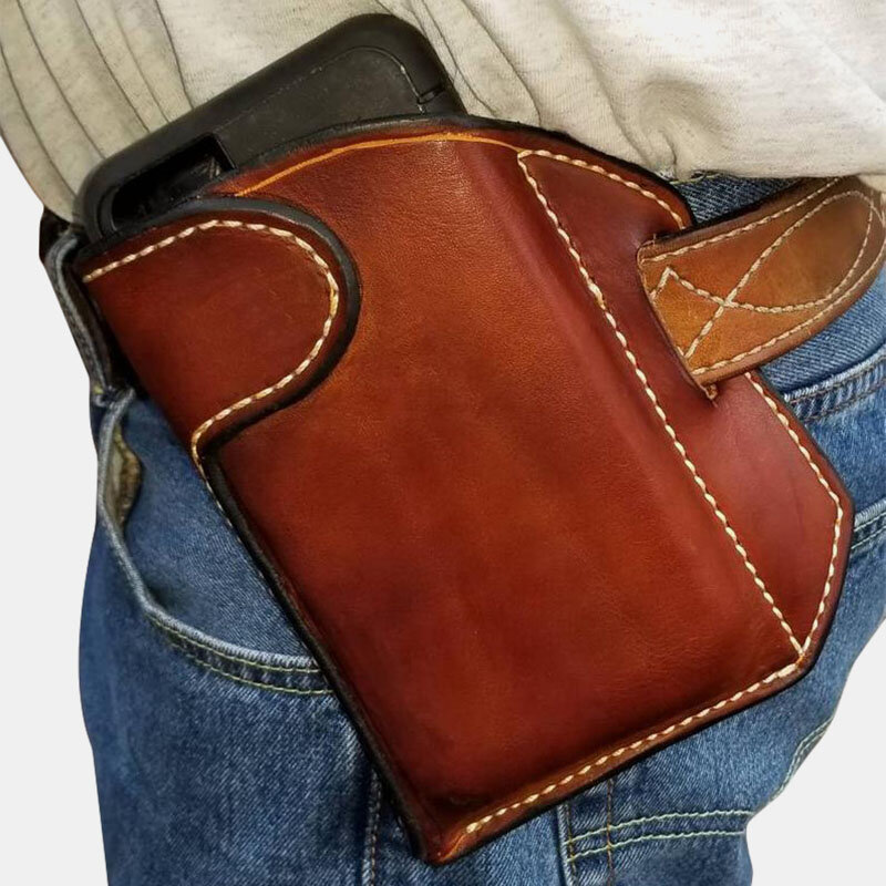 Men Genuine Leather 6.3 Inch EDC Cell Phone Holster