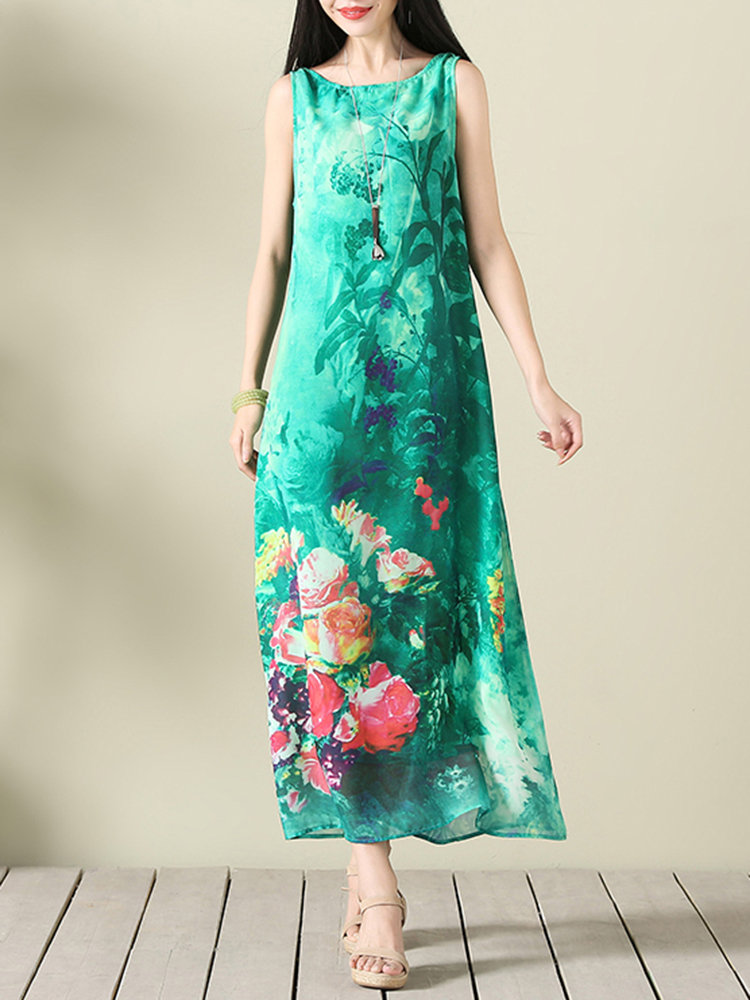 Boho_Chiffon_Floral_Print_Sleeveless_Oneck_Maxi_Dress_For_Women