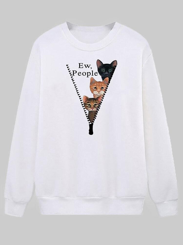 Cartoon Cat Printed O-neck Long Sleeve Sweatershirt