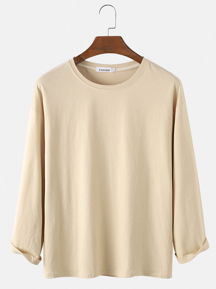 Mens Basic Solid Color Loose Casual Breathable Round Neck Sweatshirts