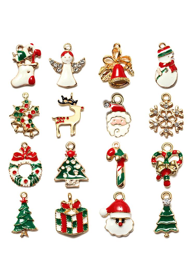 1Pcs Oro Navidad Regalos Encantos Árbol Ciervos Copo de nieve Colgante
