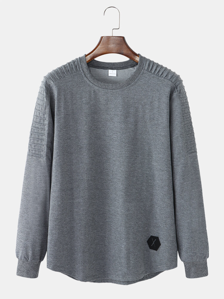 Mens Basic Solid Color Round Neck Curved Hem Casual Long Sleeve T-Shirt