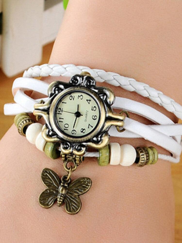 女性のためのヴィンテージクォーツ腕時計バタフライペンダントビーズレザーマルチレイヤーウォッチエスニックジュエリー