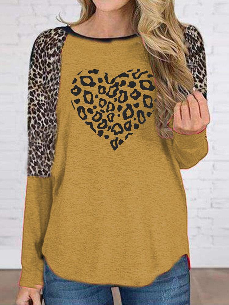 Leopard Heart Print O-neck Long Sleeve Plus Size T-shirt