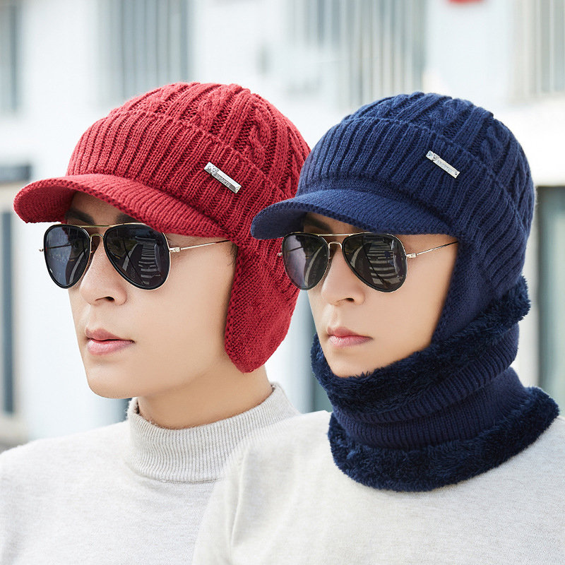 Men Winter Warm Ears Velvet Knit Beanie Scarf Vintage Outdoor Sports Cycling Beanie Scarf Suit