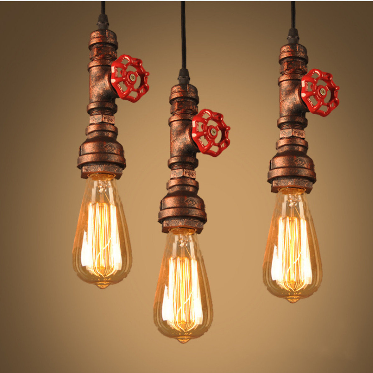 Copper pipe red stop tap industrial vintage style pendant light