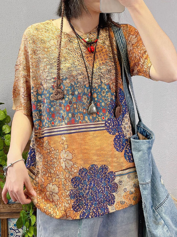 Women Floral Print Loose O-neck Short Sleeve Vintage Knitted T-Shirt