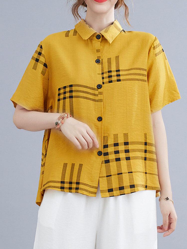Plaid Print Button Lapel Short Sleeve Loose Shirt