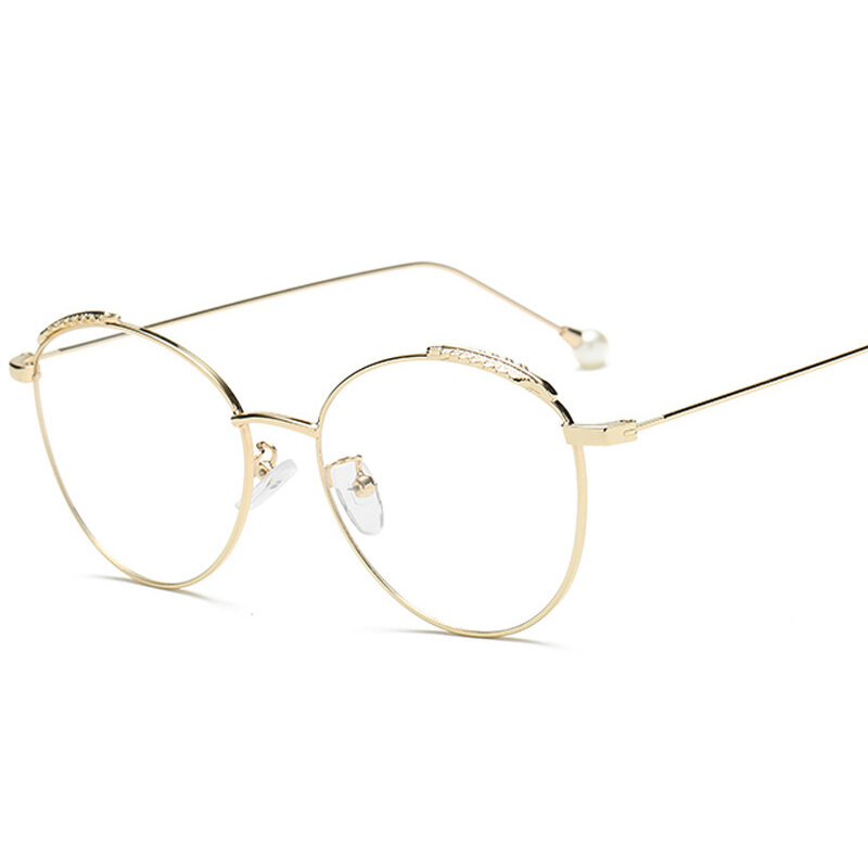 Retro Literary Optical Glasses Feather Round Glasses Frame Pearl Legs Ladies Eyeglasses Eye Care