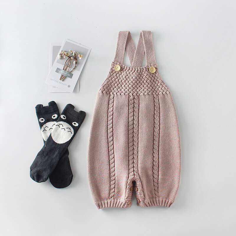 Button Closure Knitted Warm Baby Romper Vest Outerwear For 0-24M
