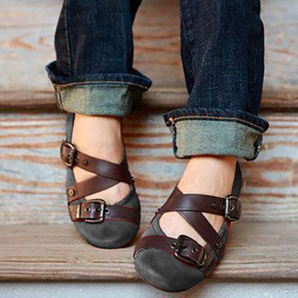 Cross Closed Toe Slip On Buckle Casual Flat Shoes