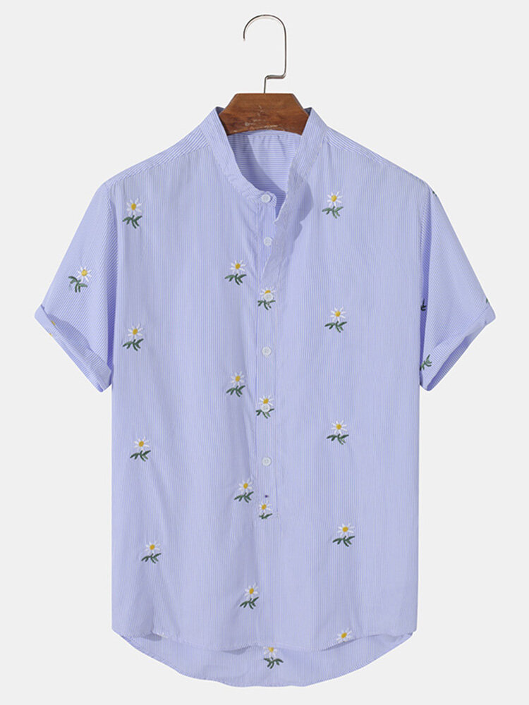Mens Floral Embroidery Pinstripe High Low 100% Cotton Short Sleeve Henley Shirts