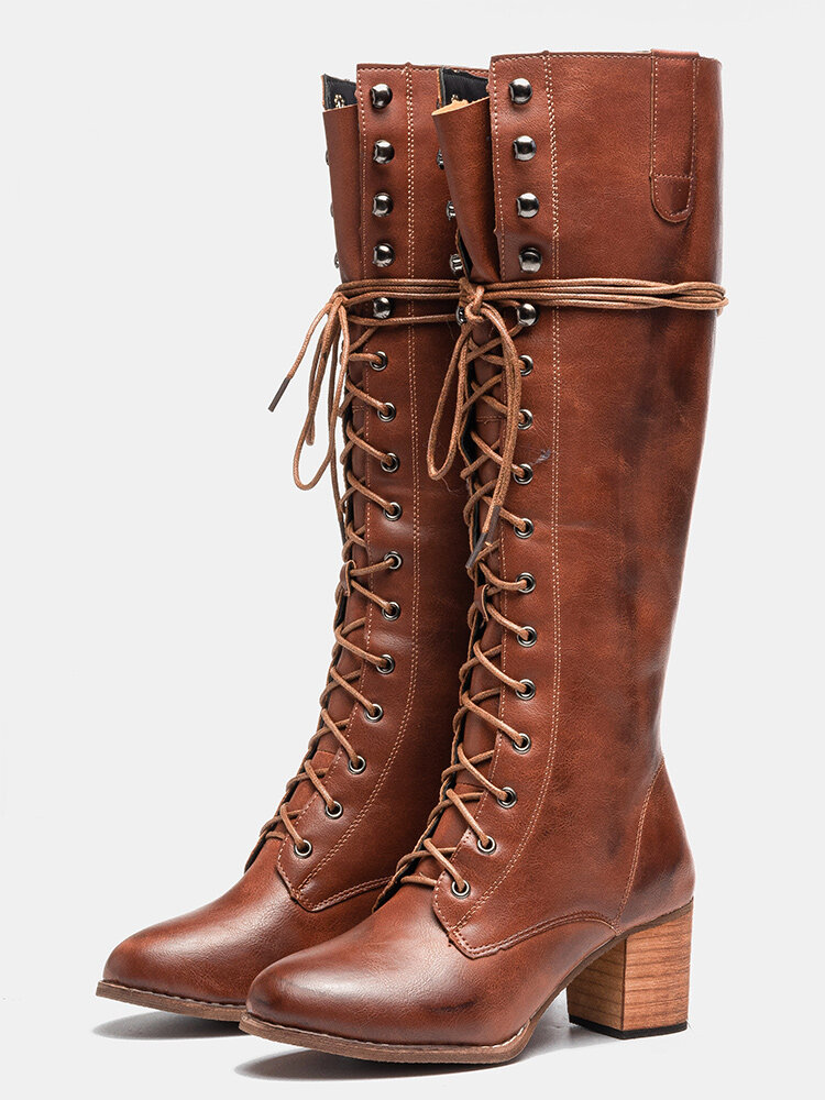 Plus Size Women Rivet Lace Up Chunky Heel Mid Calf Boots