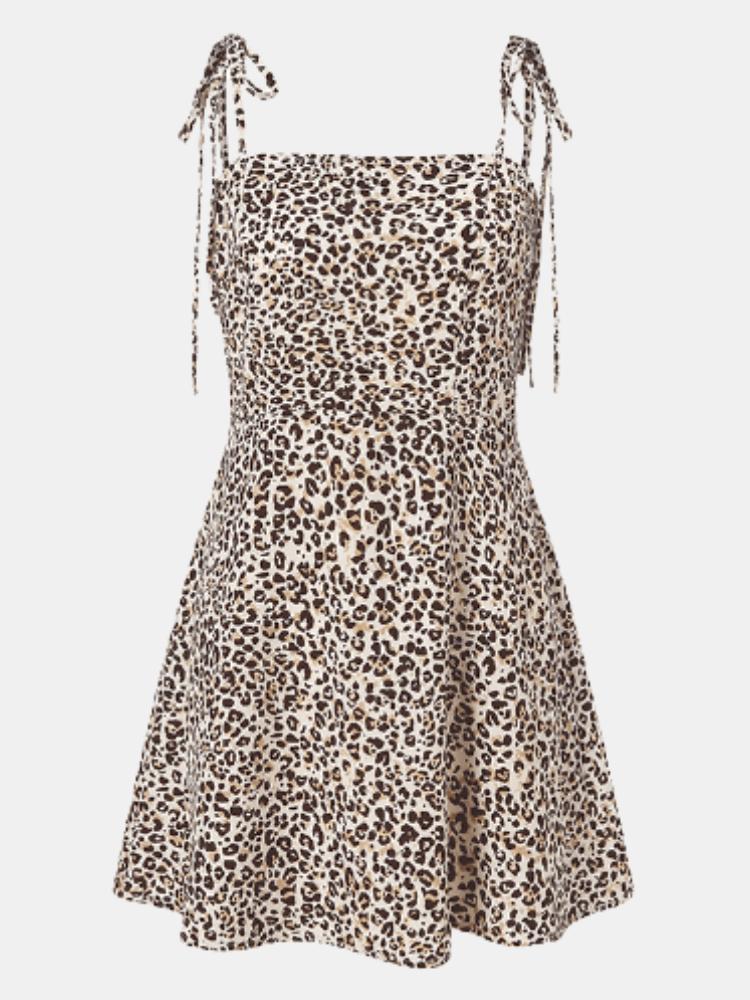 Leopard Print Straps Knotted Plus Size Short Dress