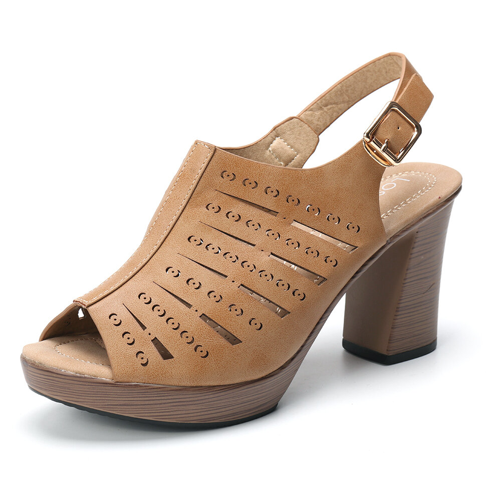 LOSTISY Hollow Out Peep Toe Buckle Fashion Slingback Pumps