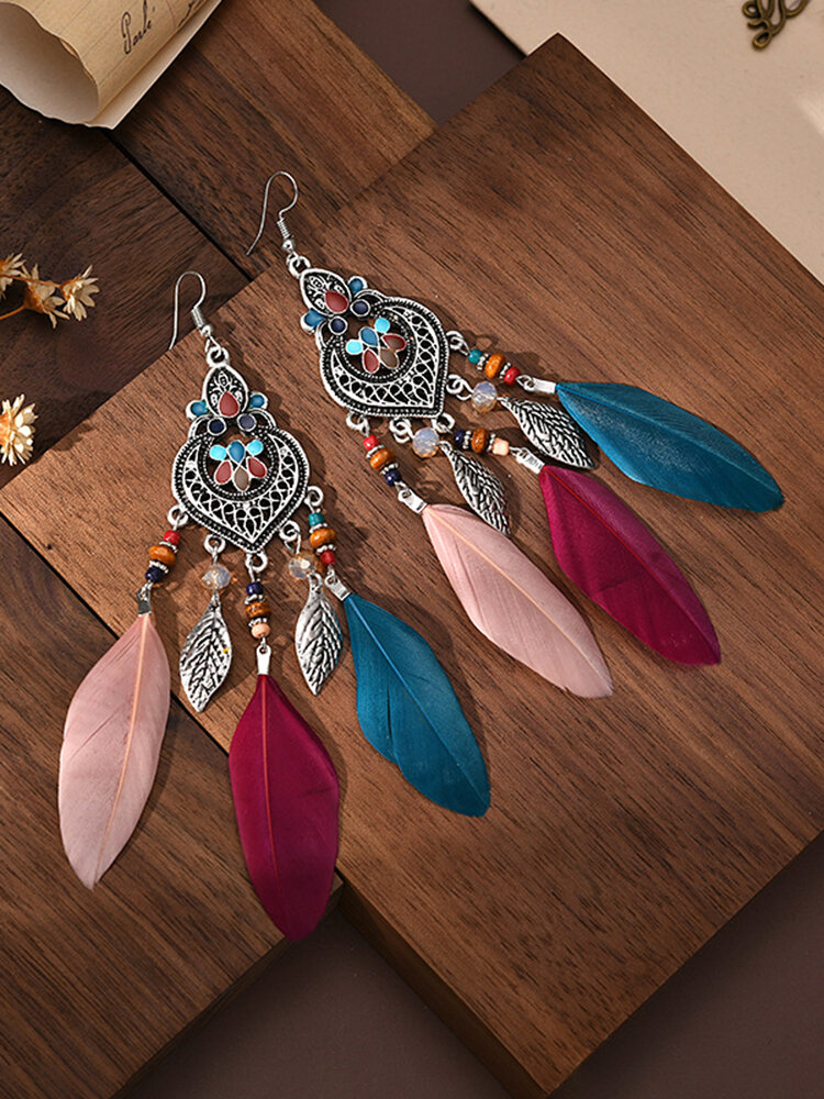 Alloy Vintage Ethnic Color Dipping Oil Heart-shaped Long Feather Earrings
