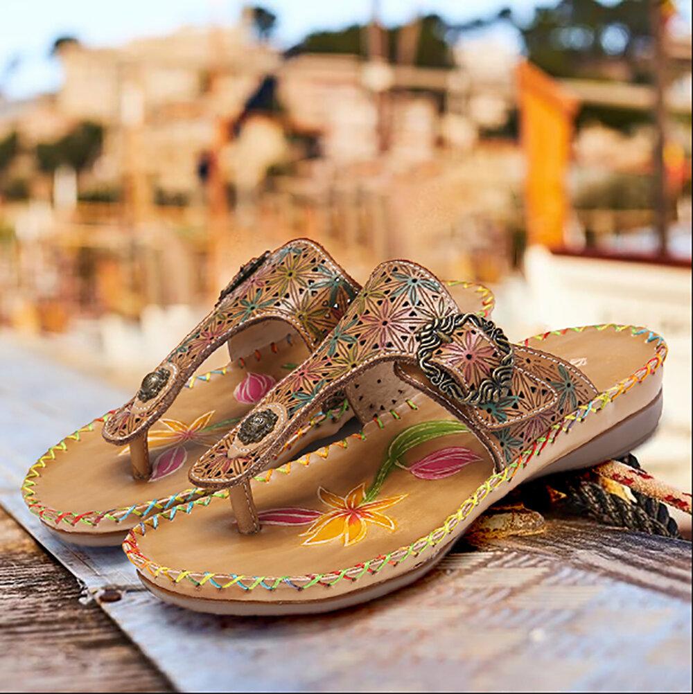 SOCOFY Leather Cutout Floral Buckle Adjustable Elastic Strap Flip Flops Thong Flat Sandals