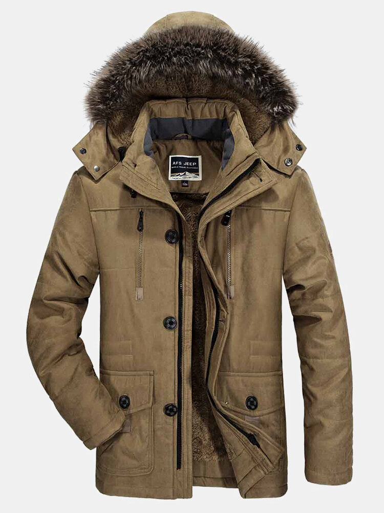 Mens Thicken Fleece Lined Warm Casual Regular Fit Faux Fur Hooded Coat