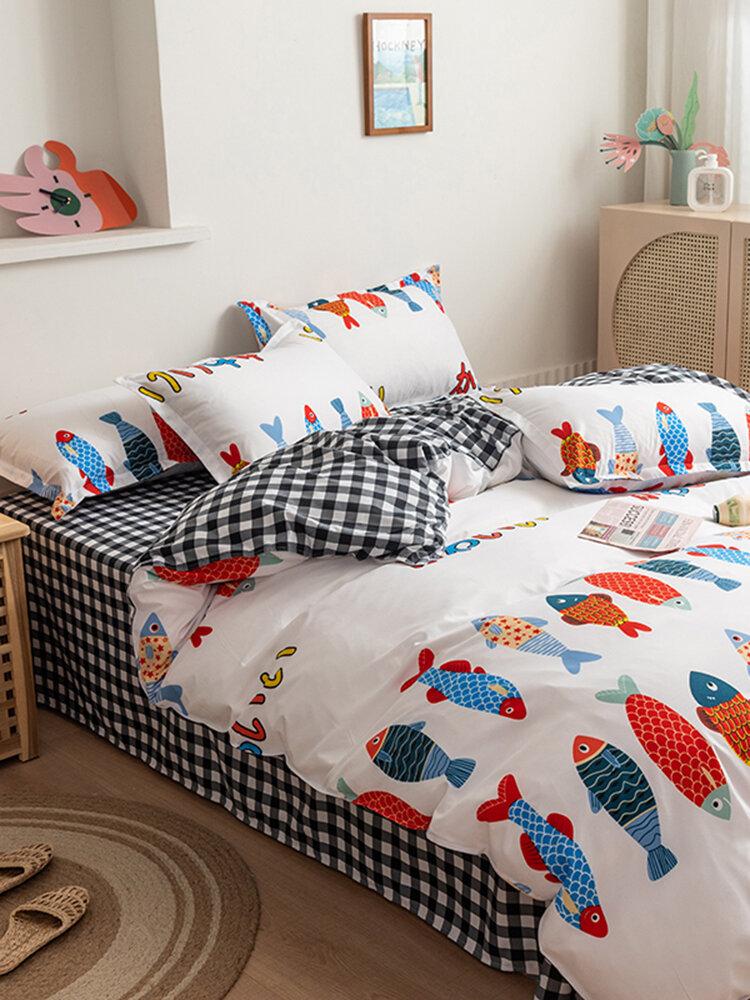 3/4 Stück Cartoon Fisch und Plaid Print AB seitige Aloe Baumwolle Bequeme Bettwäsche Set Bettbezug Bettbezug Kissenbezug