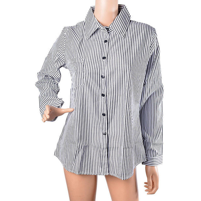 Women's Large Size Loose Vertical Stripes Long-sleeved Shirt