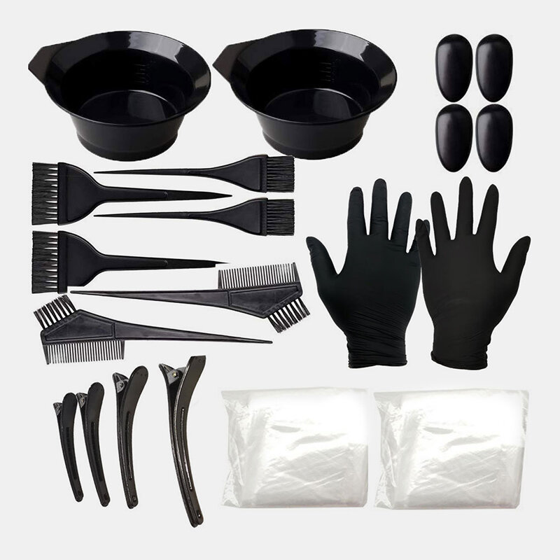 22 PCS Hair Dyeing Tool Set Comb Brush Disposable Shower Cap Latex Gloves Hair Dye Bowl