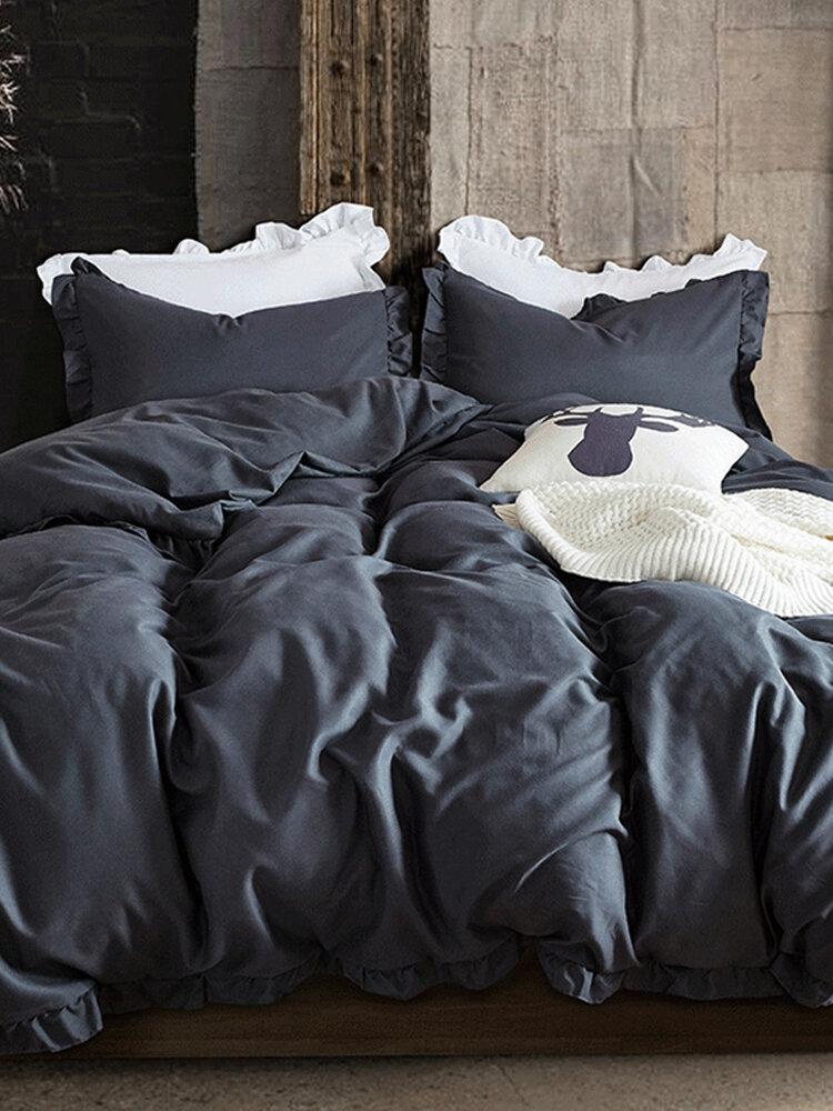Silky Soft Pure Egyptian Solid Color Bettwäsche-Set Familiengröße Bettbezug-Set Bettlaken Kissenbezüge Twin Queen King Size