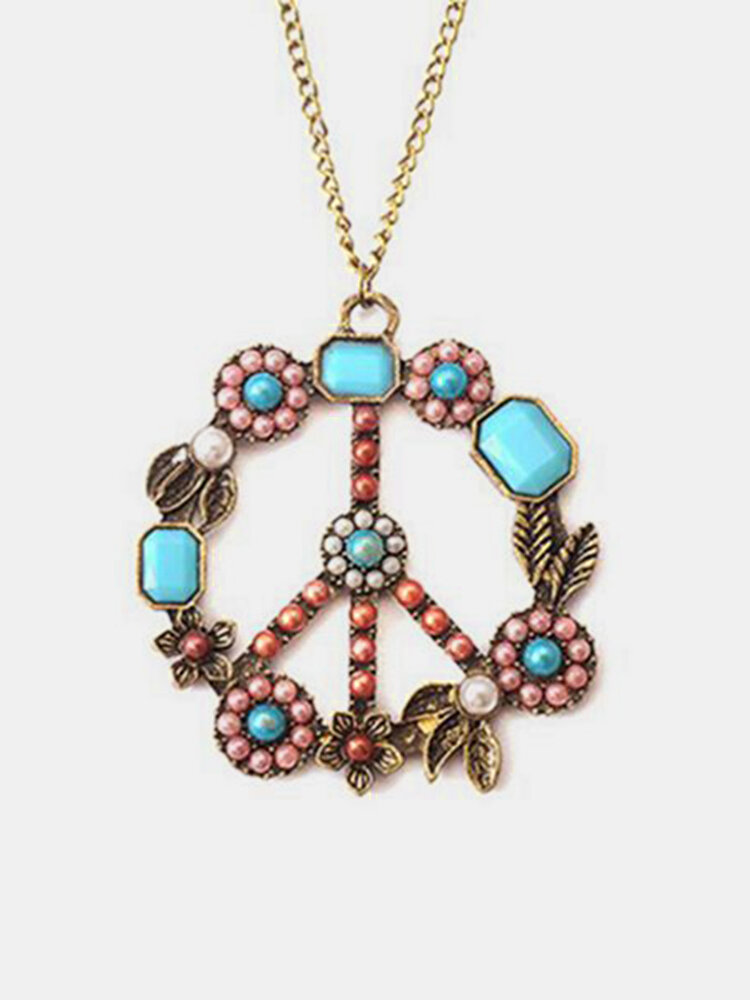 Vintage Pendant Long Necklace Hollow Flower Round Charm Chain Necklace Ethnic Jewelry for Women