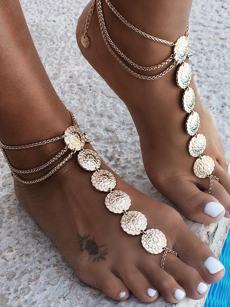 Vintage Carved Long Anklets Multilayer Alloy Anklet Ethnic With Toe Anklet For Women