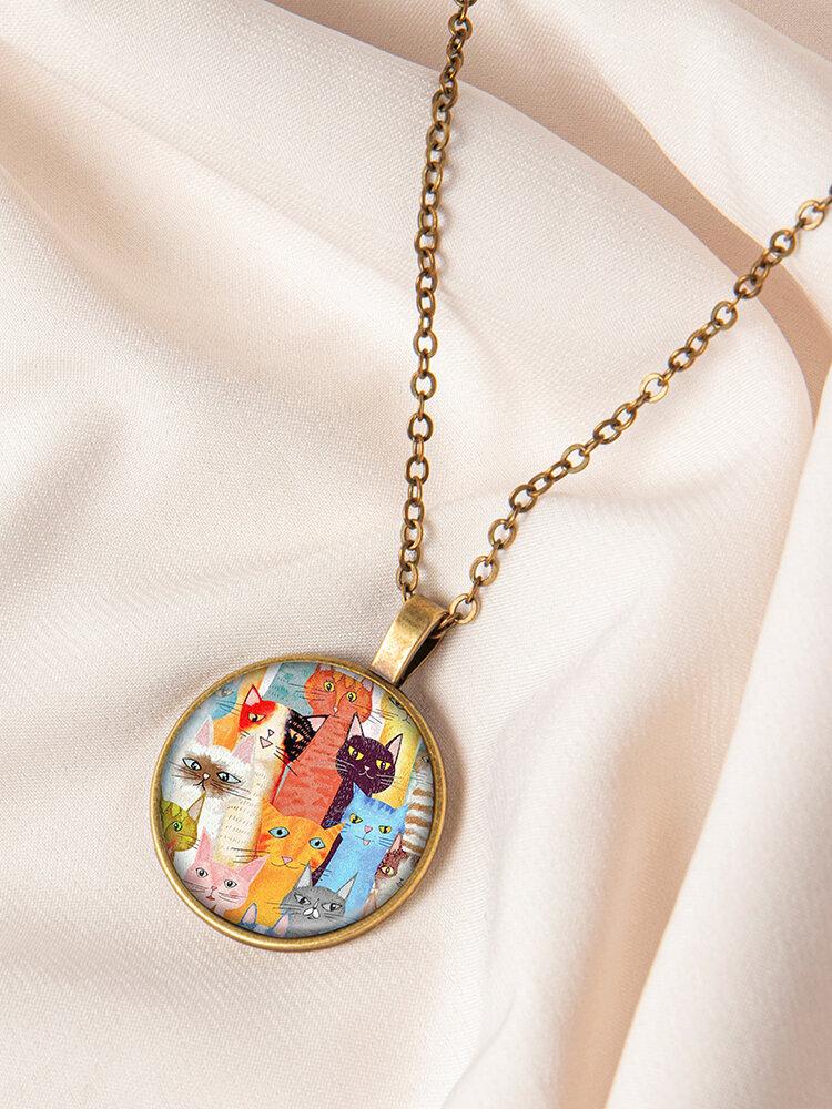 Bronze Glass Round Three-Color Cat Print Women Pendant Necklace Jewelry