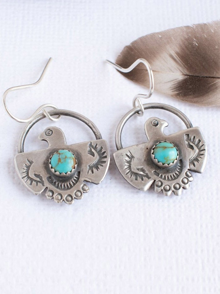 Vintage Carved Eagle-shaped Inlaid Turquoise Alloy Earrings