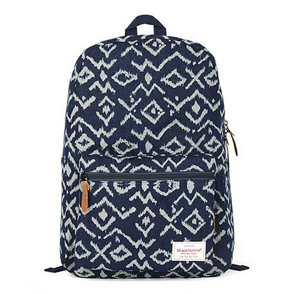 Men and Women Canvas National Style Backpack Schoolbag