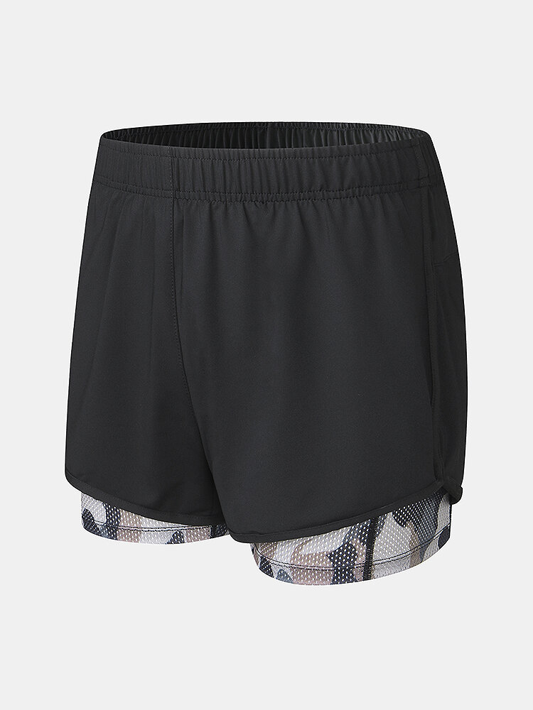 Mens Camo Patchwork Quick Dry Breathable Sports Board Shorts With Mesh Compression Liner