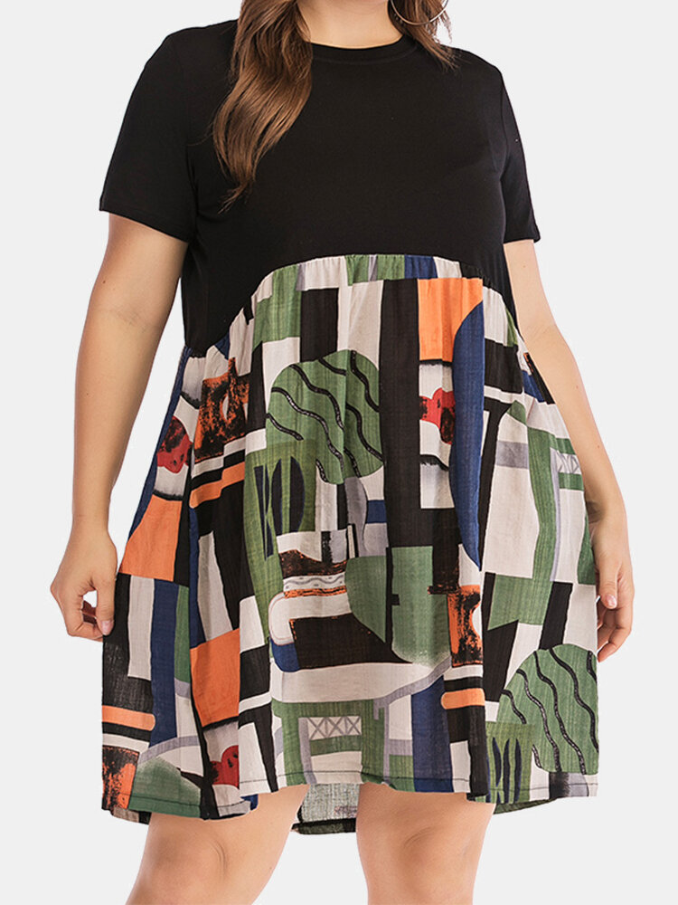 Printed Patchwork Short Sleeve Plus Size Dress with Pocket