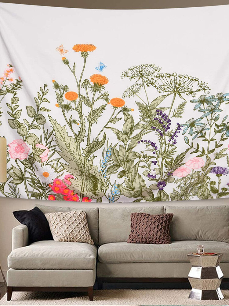 Colorful Flower Plant Tapestry Retro Herbal Tapestry Wild Flower Tapestry Wall Hangings Nature Scenery Tapestry