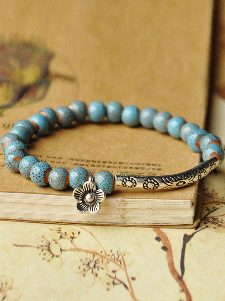 Ethnic Hand-woven Ceramic Beads Bracelet Geometric Metal Flower Ceramic Beads Bracelet