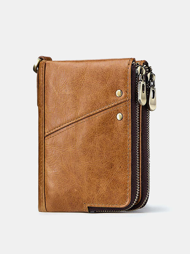 RFID Genuine Leather 12 Card Slot Casual Multifunction Wallet Double Zip Retro Purse For Men Women