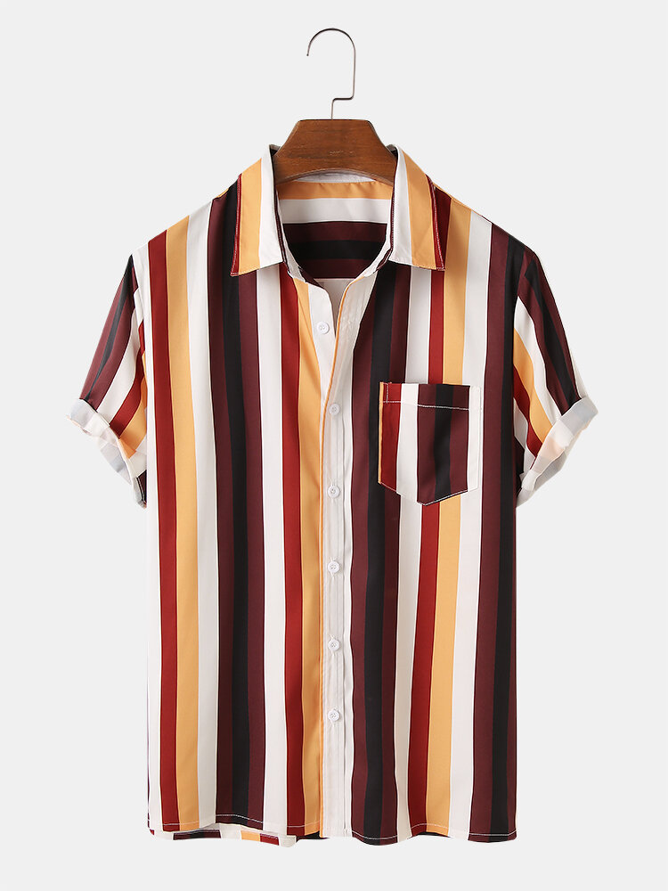 Mens Light & Breathable Colorful Stripe Holiday Short Sleeve Shirts
