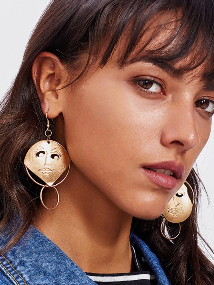 Trendy Face Hollow Earrings Temperament Metal Circle Earrings