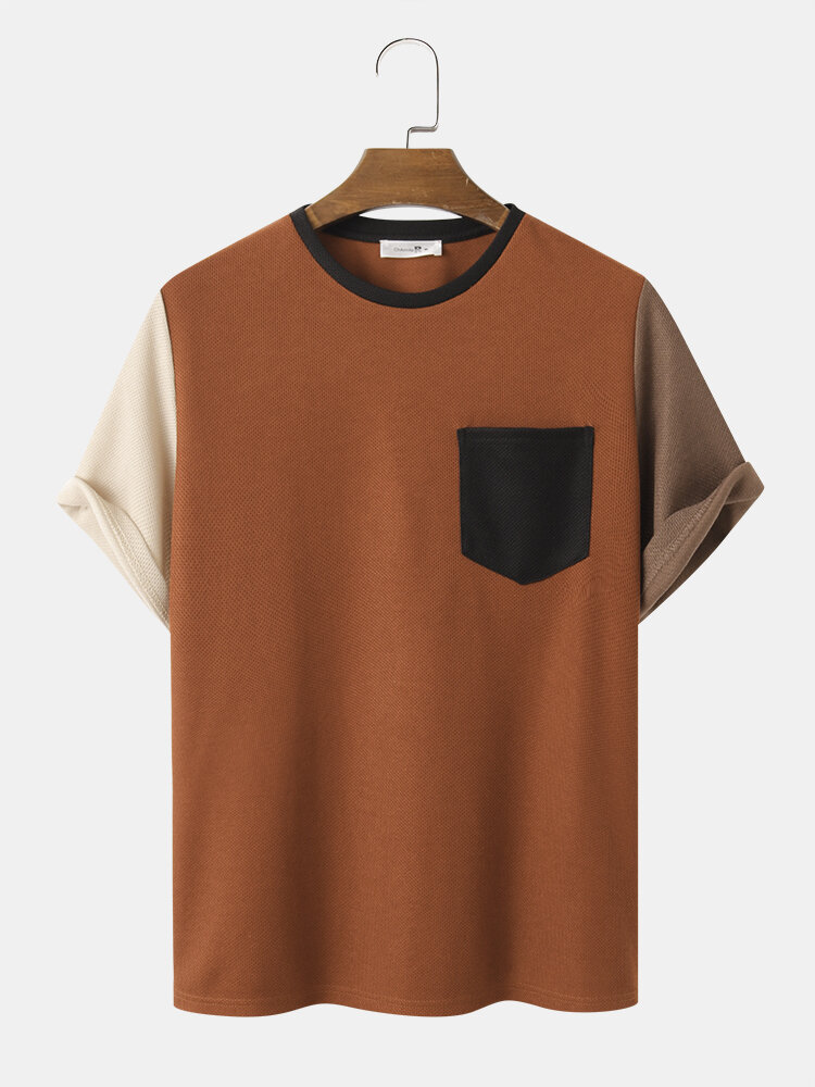 Mens Patchwork Knitted Solid Color Short Sleeve Street T-Shirt With Pocket