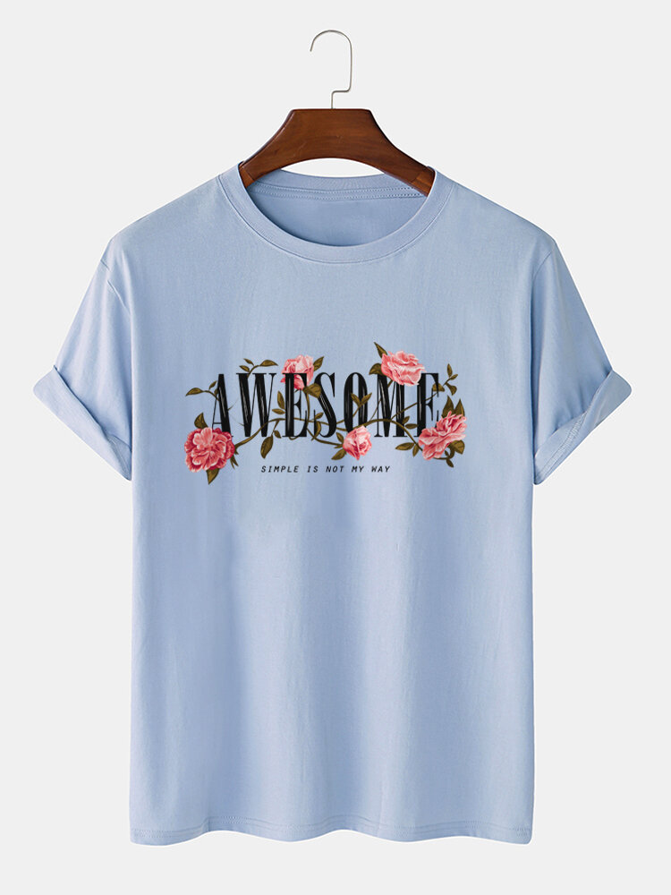Mens Letter Floral Print 100% Cotton Casual Short Sleeve T-Shirts
