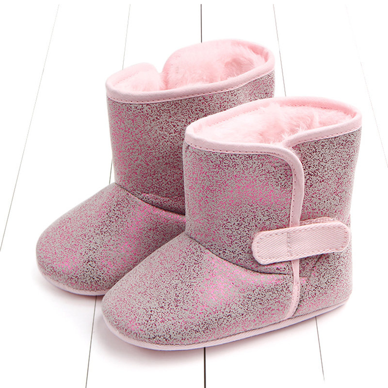 Shinning PU Upper Unisex Baby Infant Kids Warm Fleece Boots For 0-18 Months
