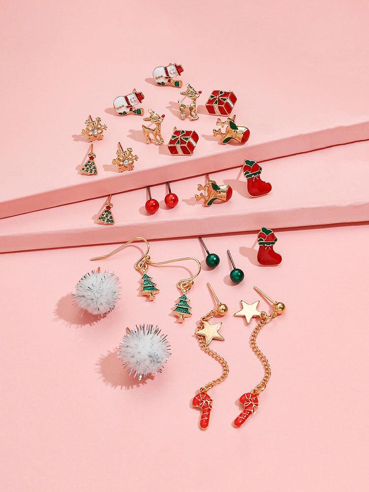 12 Pcs Christmas Ear Stud Set Christmas Stocking Gift Star Wand Elk Tassel Earrings