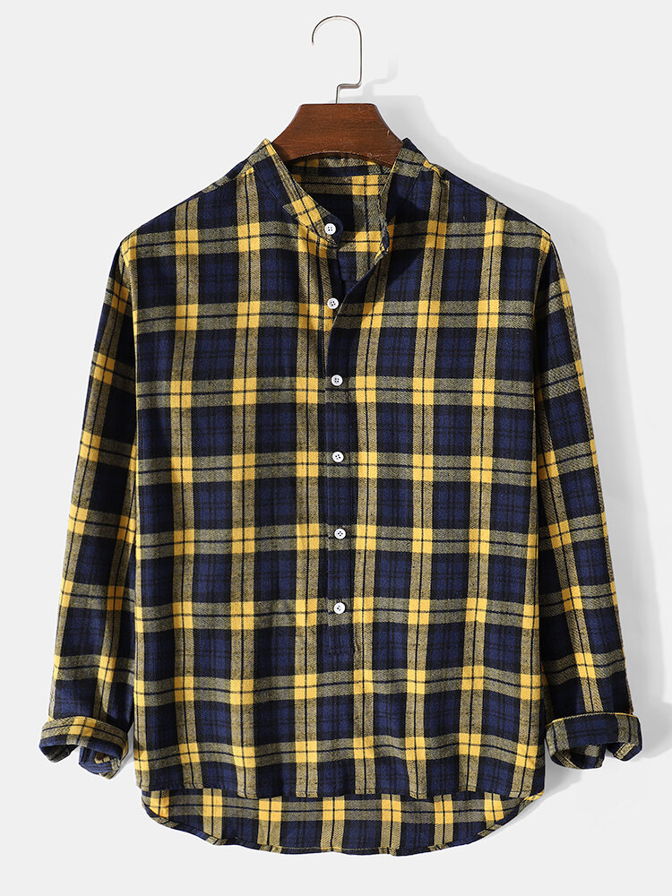 Mens Plaid Stand Collar High Low Cotton Long Sleeve Henley Shirts